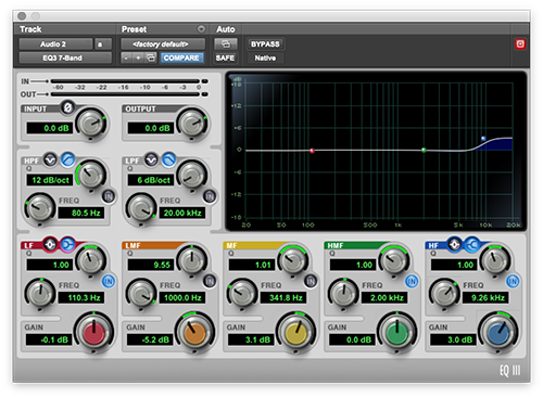An image of a high shelf boost in Pro Tools