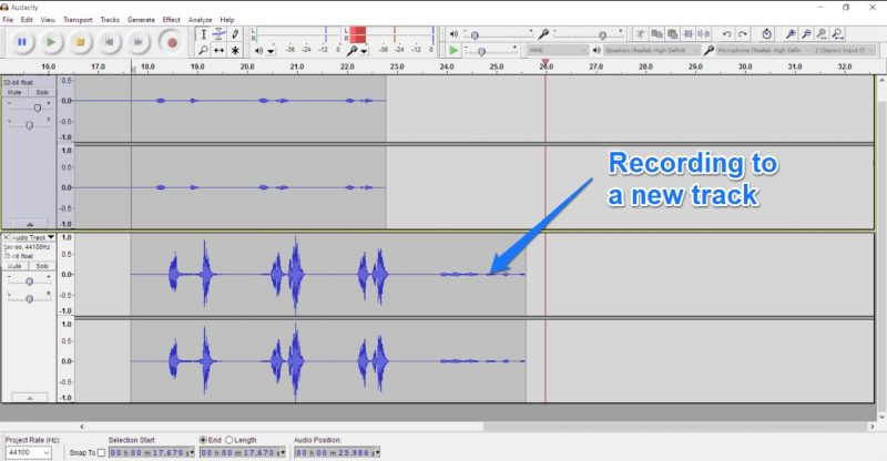 Recording to a new track in Audacity