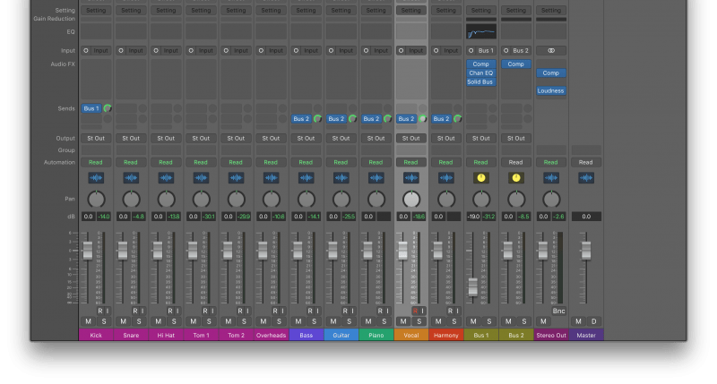 logic pro x mix view