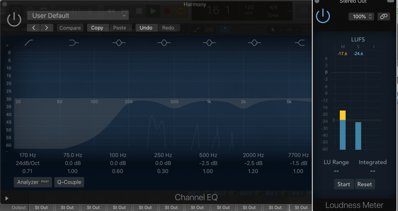 loudness meter with eq bypassed