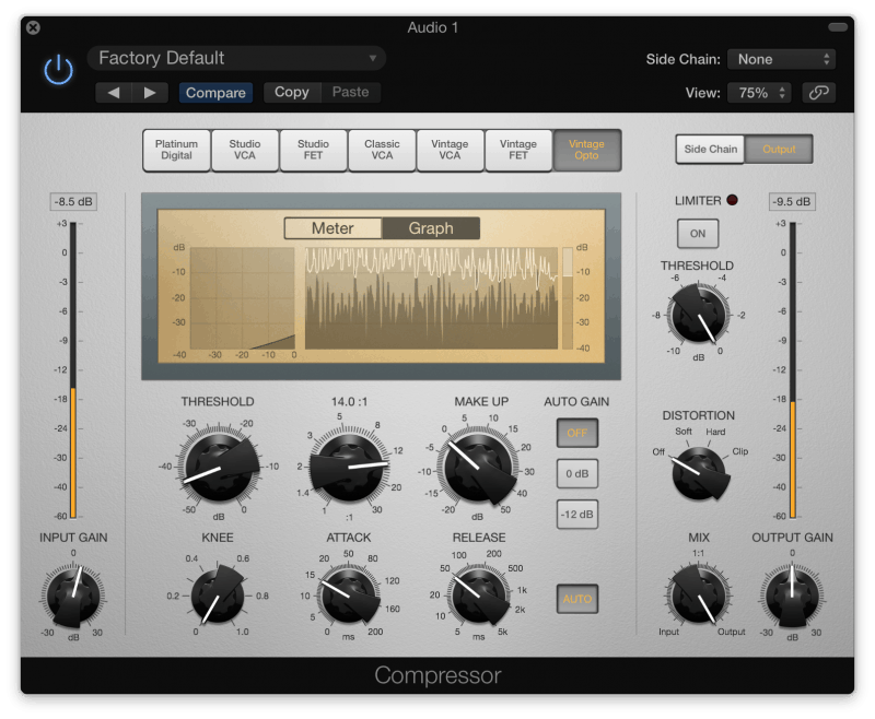 Compressing vocals in Logic Pro X