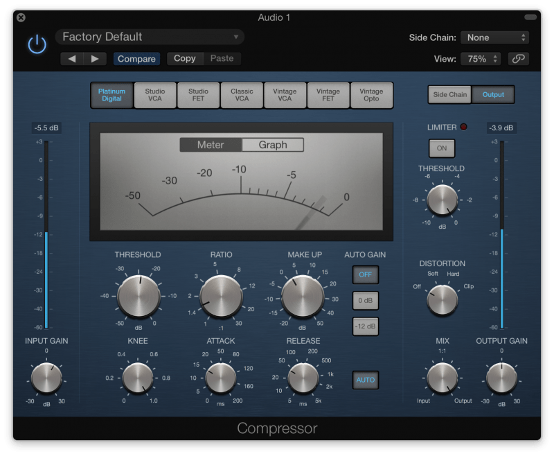 compressor with 3 db of gain reduction