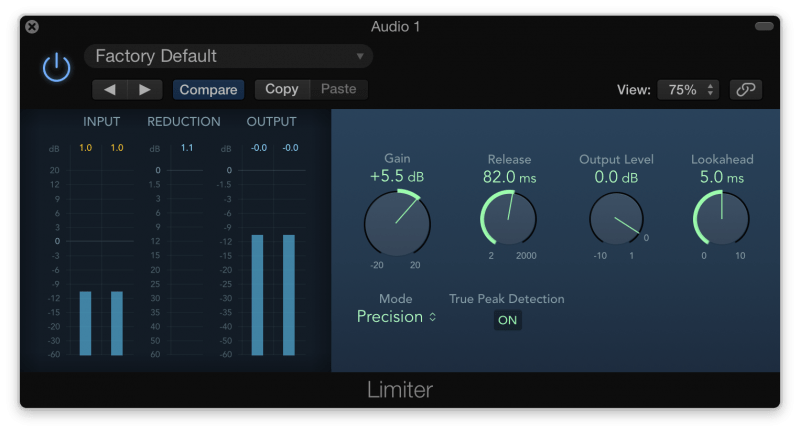 Applying a limiter to vocals in Logic Pro X