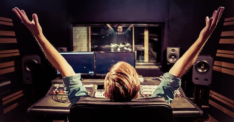 recording engineer celebrating