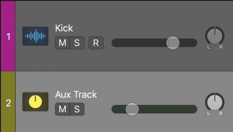 kick track and aux track