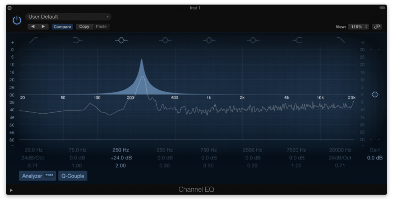 boosting frequencies with an eq