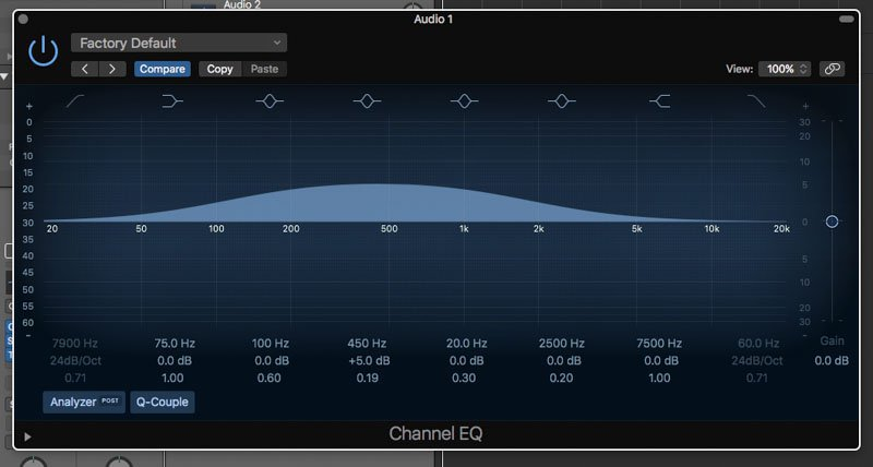 eq curve with a wide q