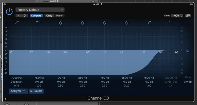 high pass filter eq