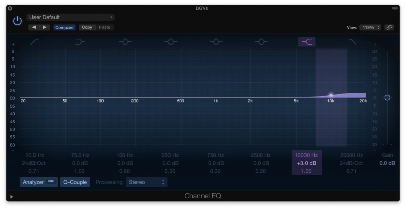 boosting high frequencies with an eq