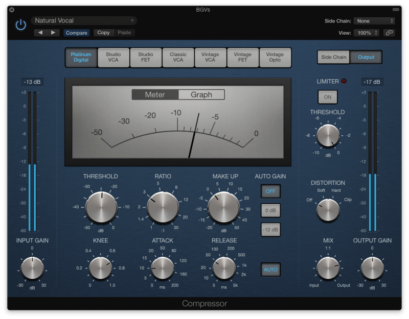 logic pro compressor with 8 db of compression