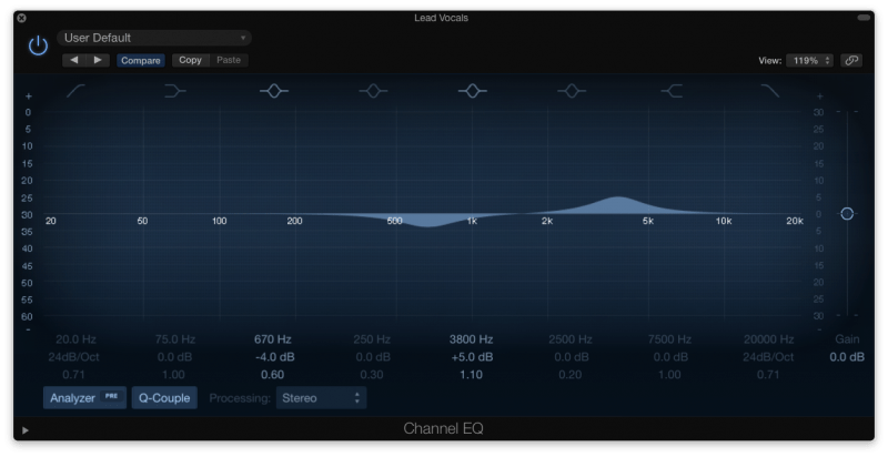 boosting and cutting frequencies with an eq