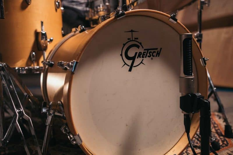 gretsch kick drum with microphone in front of it