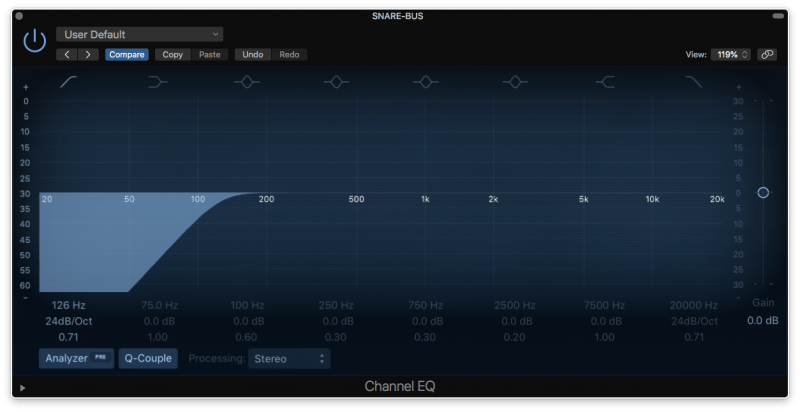 eq with high pass filter