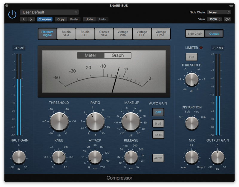 logic pro compressor with 7 db of gain reduction
