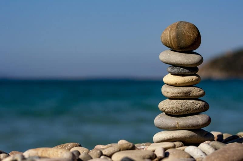 stacked rocks symbolizing mix balance