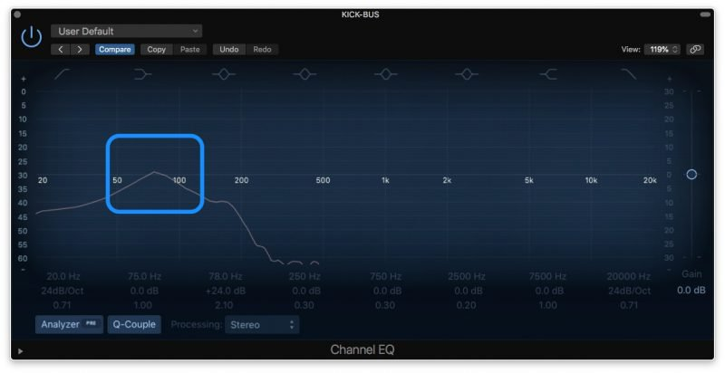 eq frequency analyzer showing content at 70 hz