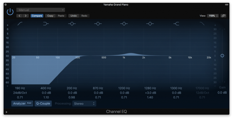 eq with a high pass filter