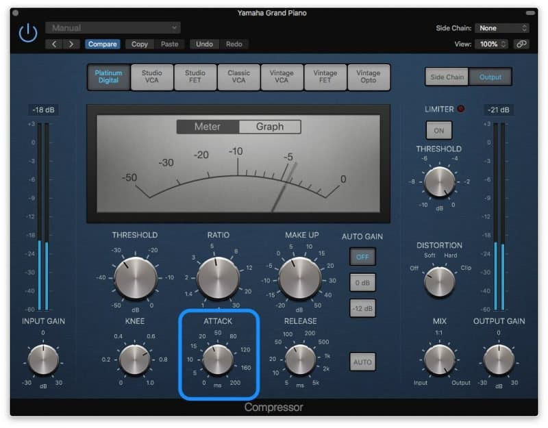 compressor with a slow attack