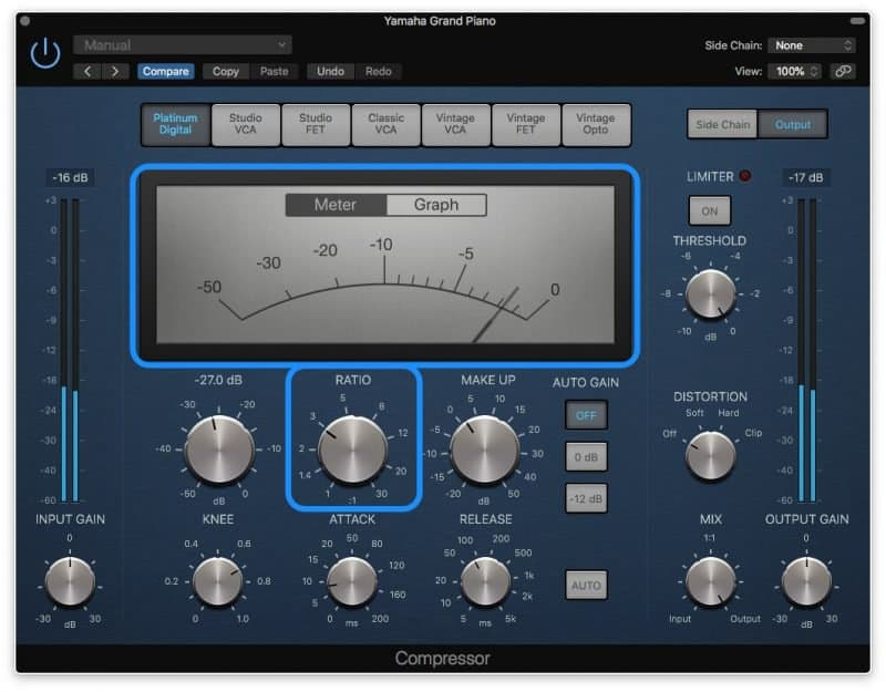 logic pro compressor with 2 to 3 db of gain reduction