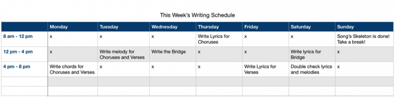 songwriting schedule