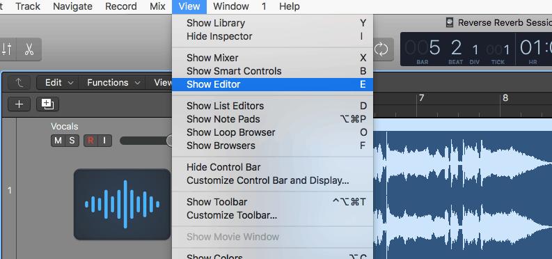 logic pro x audio editor view