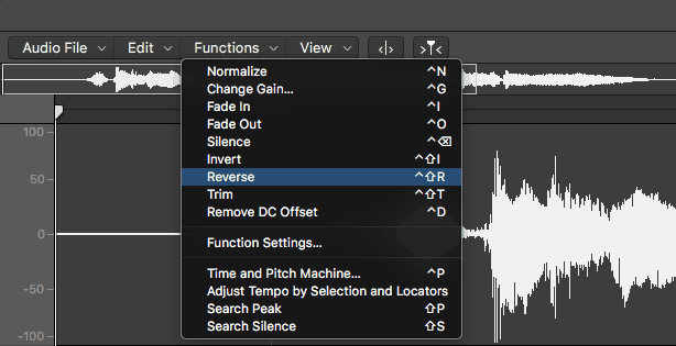 selecting reverse in logic pro