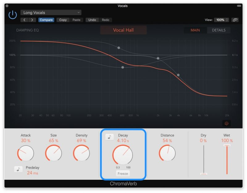 vocal reverb with low pass filter