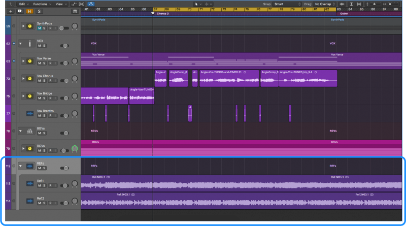 arranging the reference track in logic pro x