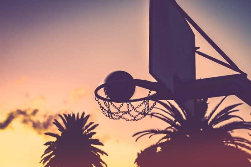 basketball going into a hoop