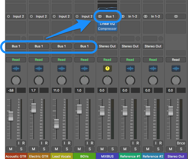 setting up a mixbus in logic pro