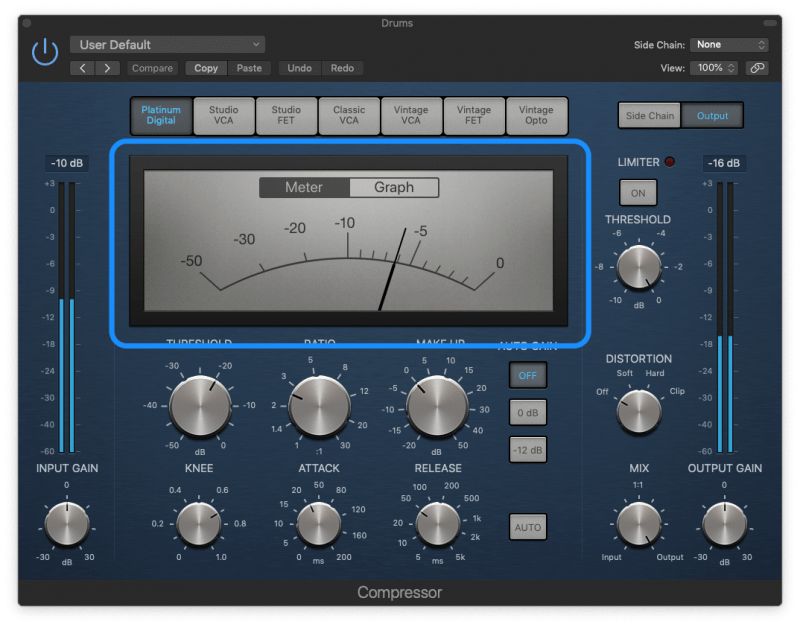 logic pro compressor with 6dB of gain reduction