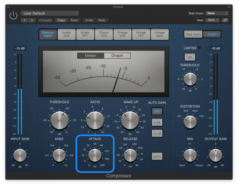 logic compressor with an attack time of 20 ms