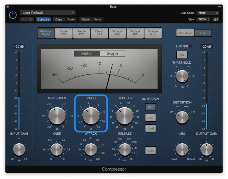 logic pro compressor with a ratio of 3:1