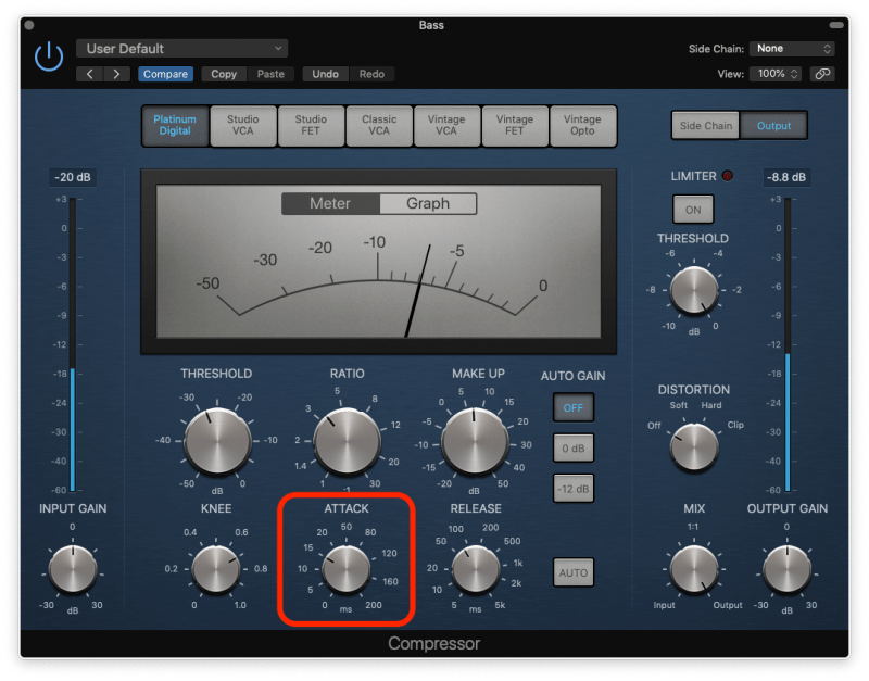 bass compression with medium attack time
