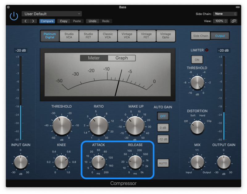 compressor with a slow attack and fast release