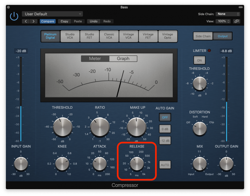 bass compression with medium release