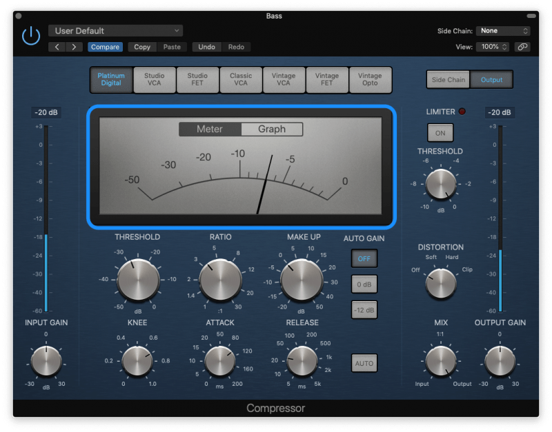 compressor with 7 dB of gain reduction