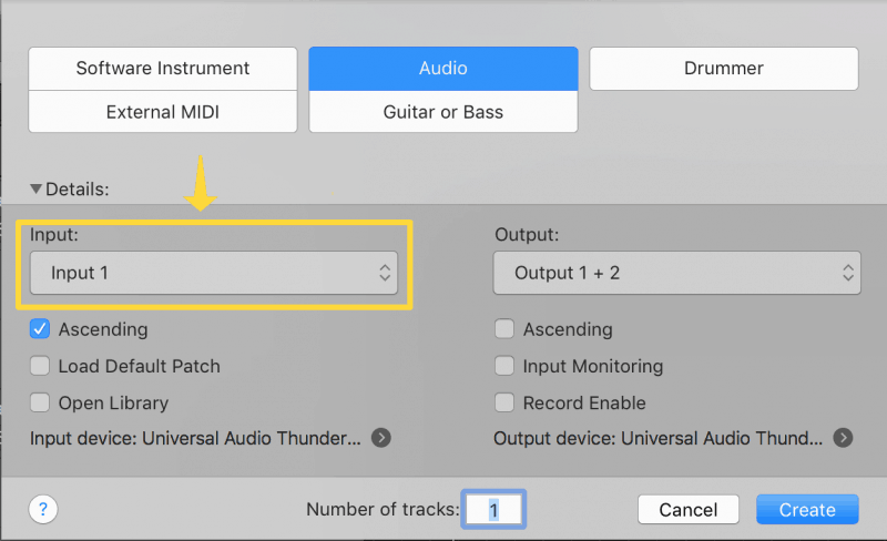 changing the input on an audio track
