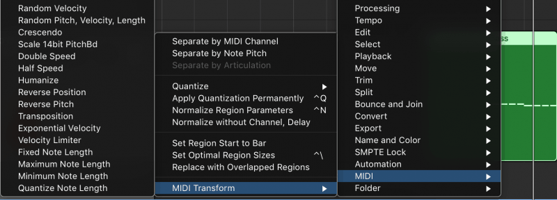 opening the humanization tool via the midi transform menu