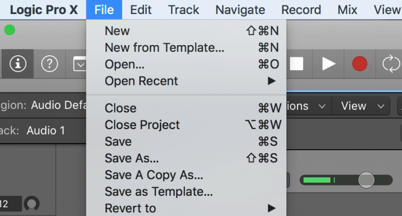 file menu for saving and creating projects
