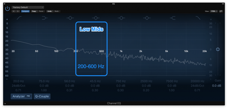 low mid frequencies highlighted on an eq