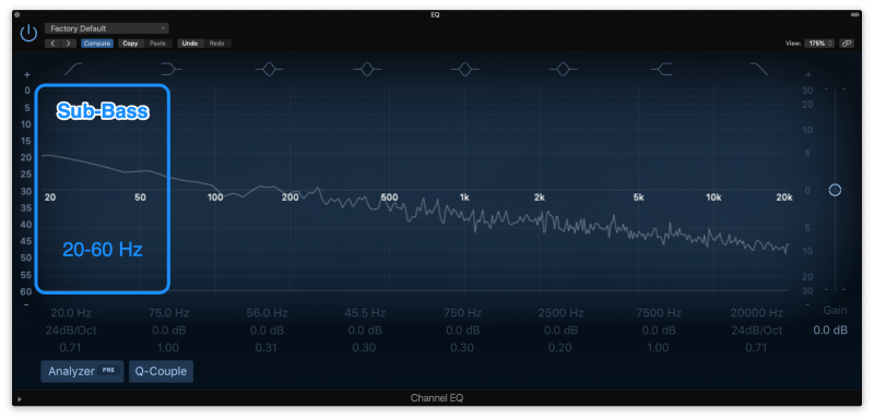 sub frequencies highlighted on an eq