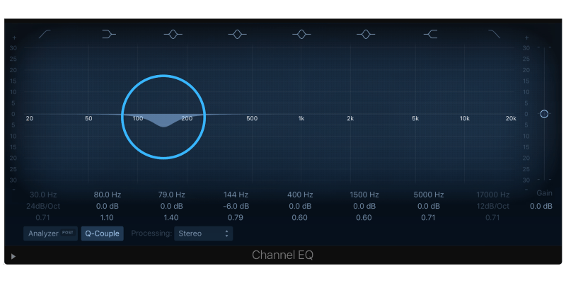 turning down 150 hz with an eq