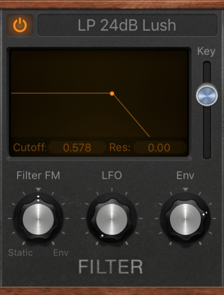 low pass filter on a synthesizer