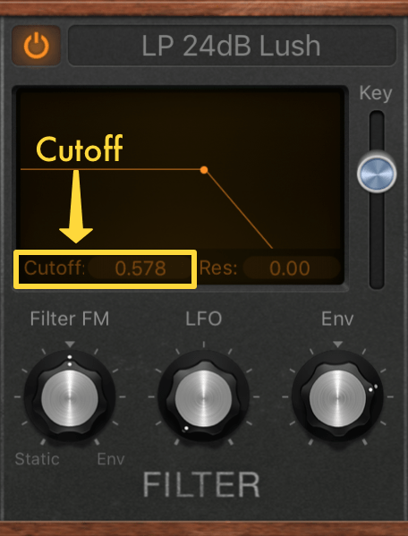 filter cutoff on a synth