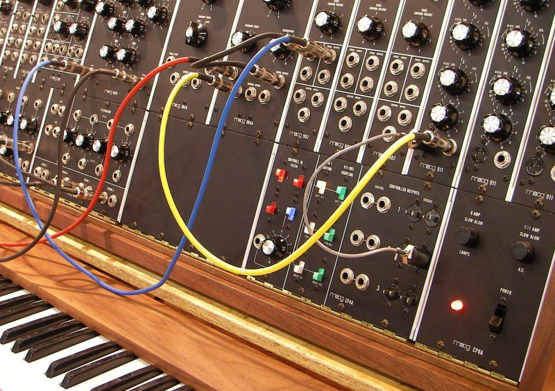 modular synth with patch cables