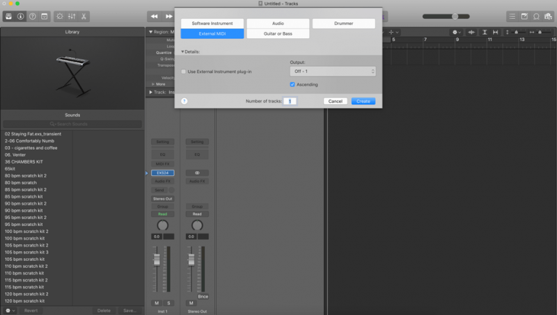 creating an external midi track in logic pro x