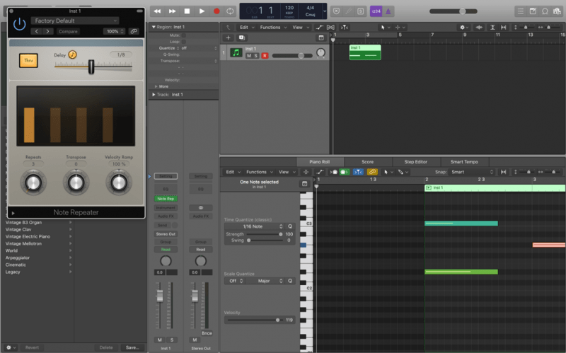 note repeater in logic pro x