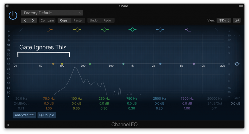eq showing the frequency range the gate will ignore once filters are set