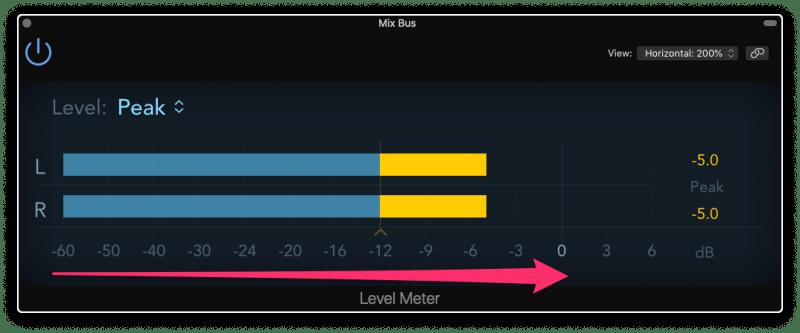 logic pro x peak meter
